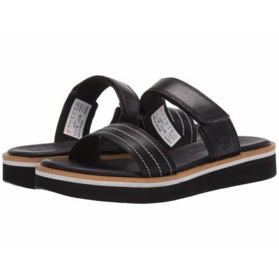 ティンバーランド サンダル シューズ レディース Adley Shore 2-Band Slide Black Full Grain Leather