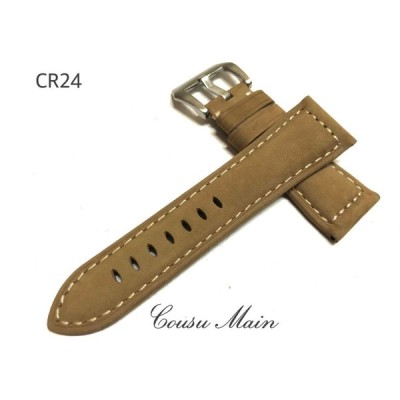 【CousuMain】26mm-22mm★アンティークカーフ 尾錠付★パネライ PANERAI向 CR24