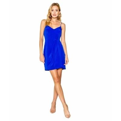 ラベンダーブラウン ワンピース トップス レディース Adjustable Strappy Cami Mini Dress with Wrap Skirt New Sapphire Blue