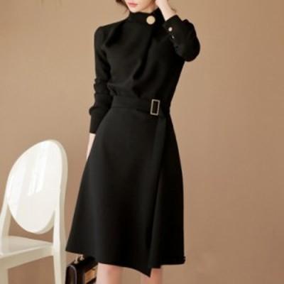 シックなトレンチワンピース レディース ブラック黒 ボタン ベルト プチプラ通販 人気 女っぽ 色気 上品 膝上 ベーシック b702