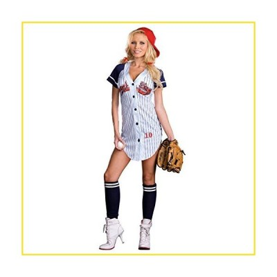 新品Dreamgirl Women's Grand Slam Baseball Costume, Lt. Blue Medium,並行輸入品