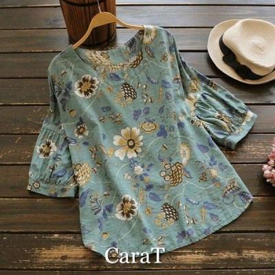 ブラウスシャツ半袖五分袖花柄コットンきれいめボリューム袖パフスリーブフェミニンカジュアル2020新作