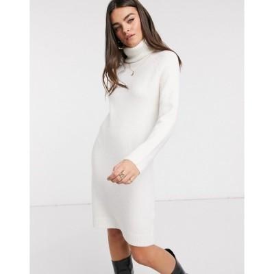 ヴィラ レディース ワンピース トップス Vila roll neck sweater dress in white White