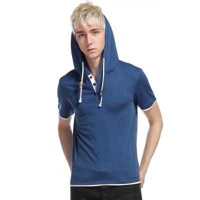 半袖パーカー Tシャツ メンズ 無地 プルオーバー ボタン付き プルオーバーパーカー カジュアル トップス 個性 アメカジ 新作 サマー 夏 スポーツ 夏物