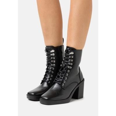 レディース ブーツ ICONIC - Lace-up ankle boots - black