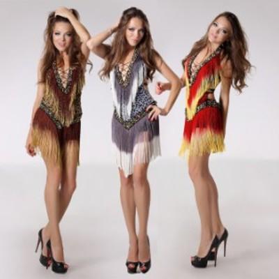 インドダンス インディアン 三色 フリンジ ワンピース クラブウェア セクシー 舞台 演出 イベント ダンス衣装 ryl00201