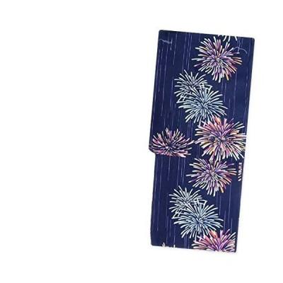 レディース浴衣 フリーサイズ(綿麻/ネイビー 濃紺×ピンク 水色 花火 14727)レトロモダン 単品 ゆかた 女性用 仕?
