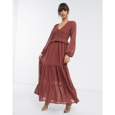 エイソス レディース ワンピース トップス ASOS DESIGN shirred ruffle tiered maxi dress in brown Brown