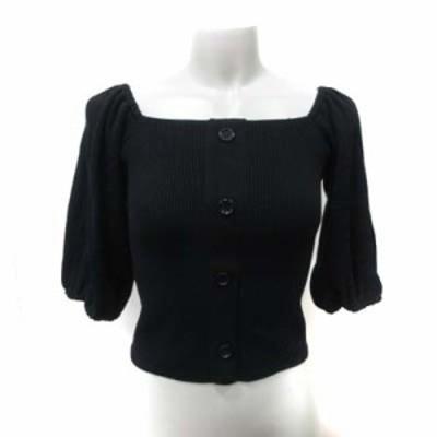 【中古】リエンダ rienda ニット セーター 七分袖 F 黒 ブラック /YI レディース