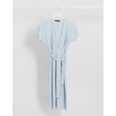 ベルシュカ Bershka レディース ワンピース ミドル丈 ワンピース・ドレス Crinkle Tie-Waist Midi Dress In Light Blue ブルー