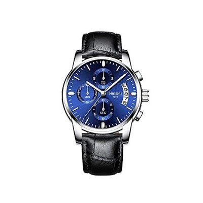 NIBOSI 腕時計 メンズ 防水 クロノグラフ ブラック レザー アナログ クォーツ 腕時計 メンズ ファッション ドレス ビジネス 腕時計