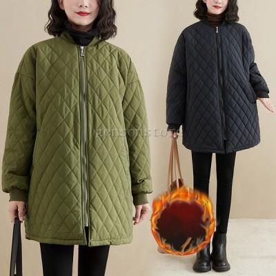 秋冬物 キルティングコート レディース 40代30代ファッション 中綿コート ロング丈 無地 ノーカラーコート ゆったり 大きイサイズ スタジャン ダウンジャケット