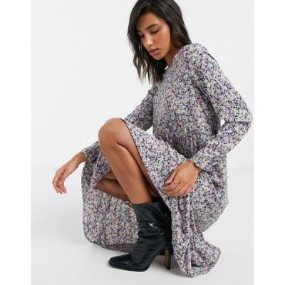 ヴェロモーダ レディース ワンピース トップス Vero Moda midi dress with tiered skirt in purple floral