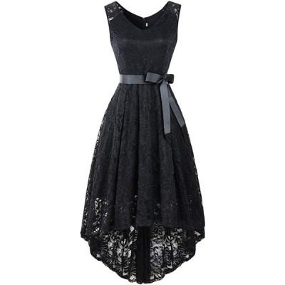 YULUOSHA レディース イブニングドレスドレス レース ワンピース Vネック ひざ丈 リボン付き フォーマル パーティー20代30代40代 お呼