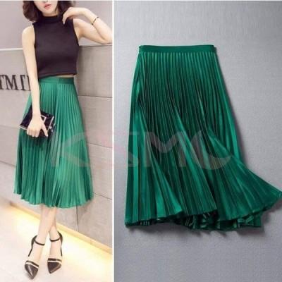 スカート レディース 膝丈スカート 4色  プリーツスカート ファッション エレガント 可愛い 着やせ 春 夏 新作