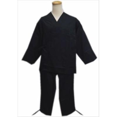 簡単粋なメンズ男性綿ポリ作務衣さむえ黒色M・L・LL 普段着&ユニフォームに