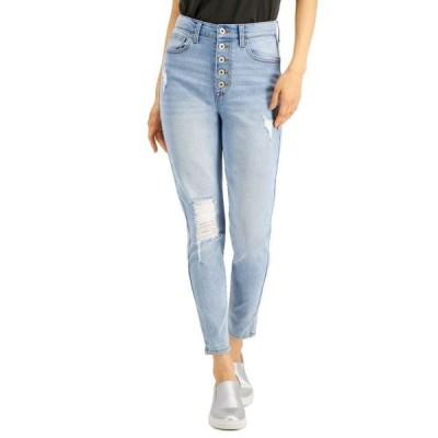 セレブリティピンク レディース デニムパンツ ボトムス Juniors' Distressed High-Rise Button-Fly Skinny Jeans