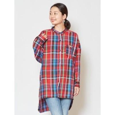 チャイハネ(CAYHANE)/【チャイハネ】チェック柄バンドカラーシャツ