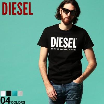 ディーゼル メンズ Tシャツ DIESEL ロゴ プリント クルーネック 半袖 ブランド トップス プリントT 白 黒 ターコイズ DSSXEDAAXJ