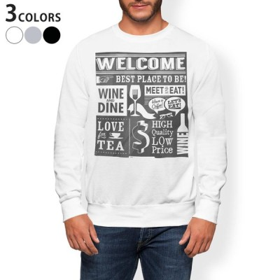 トレーナー メンズ 長袖 ホワイト グレー ブラック XS S M L XL 2XL sweatshirt trainer 裏起毛 スウェット 英語 メニュー カフェ 010297