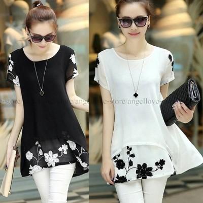 人気新品 チュニック トップス Tシャツ  シフォン ブラウス フリル 大きいサイズ さらっ 涼しい 花柄 刺繍セール