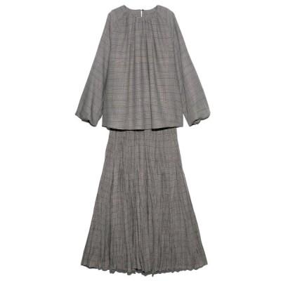 【ミラオーウェン】 ワッシャープリーツマチスカートセットアップ レディース CHECK 1 Mila Owen