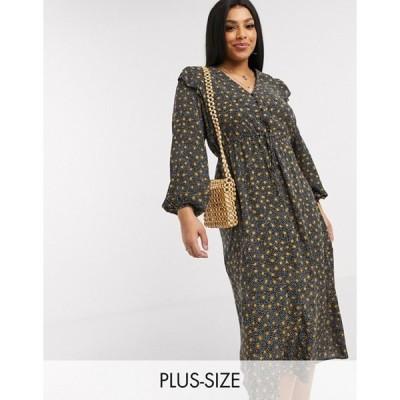 ニュールック レディース ワンピース トップス New Look Curve frill edge midi dress in black spot