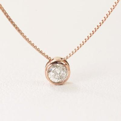 訳あり フクリン留め ネックレス ダイヤモンド 0.1ct 10金ピンクゴールド K10PG