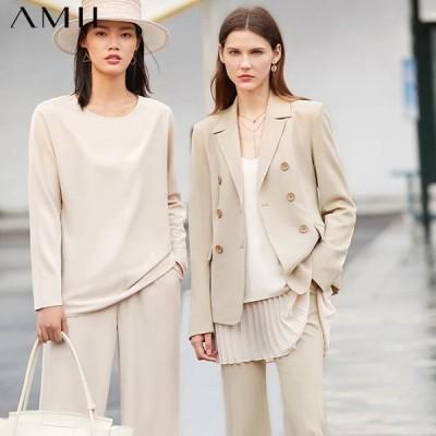 海外輸入アパレル AMIIミニマリズムオータムスーツセットファッションラペルダブルブレストレディーススーツコートハイウエストソリッドアンケルレングスパ
