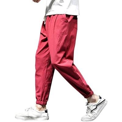 ジョガーパンツ イージーパンツ カーゴパンツ テーパードパンツ クロップドパンツ 長ズボン 春 夏 春服 夏服 無地(レッド, XL)