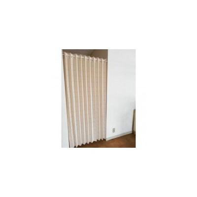 防炎加工パタパタロングカーテン ドット柄 巾150cm×丈220cm ベージュ 31148 (1613979)