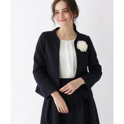Couture brooch / 【WEB限定サイズ(SS・LL)あり】スラブツイードジャケット WOMEN ジャケット/アウター > ノーカラージャケット