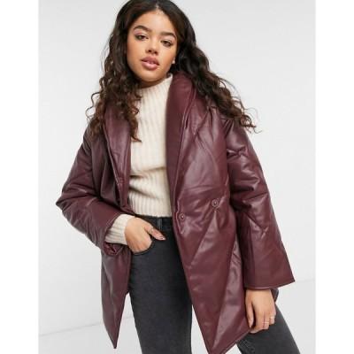 モンキ ジャケット レディース Monki Hilma faux leather padded jacket with belt in dark red エイソス ASOS レッド 赤