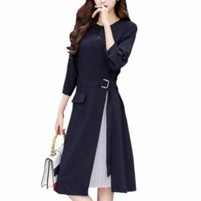 HY-00079 七分袖 シフォン プリース 付き ワンピース Aライン フォーマル ドレス S~XXL