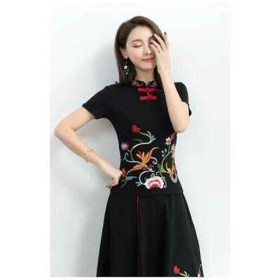 Tシャツ チャイナ カットソー 太極拳 半袖 無地 立ち襟 刺繍 中国風
