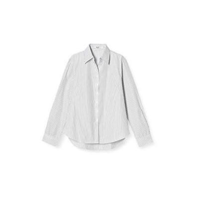 [アトリエサンロクゴ] レディースシャツ 開襟 ブラウス オフィス ワイシャツ l-25-open 長袖 黒ストライプ 日本 L (日本サイ