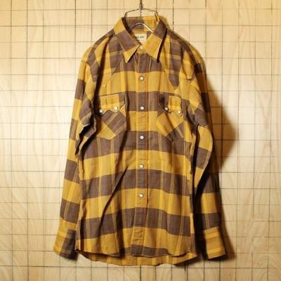 USA製 60s WASHINGTON DEE-CEE ウエスタン チェック シャツ 古着 オレンジ ブラウン 開襟 メンズS相当 ビンテージ ライトフランネル