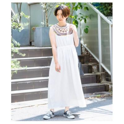 【Factor=】 エスニック刺繍ノースリロングワンピース