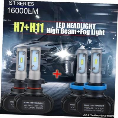 H7 + H11 LEDヘッドライトハイ+ロービームフォグ電球キット16000LM 100W H7 + H11 LED Headlight High + Low Beam Fog Light Bulbs Kit 16000LM 100W