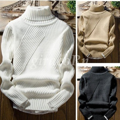 メンズトップス  メンズニット、セーター タートルネック ハイネック ケーブル編み リブ編み 無地 長袖ニット  カップル インスタ大人気 オーバーサイズ