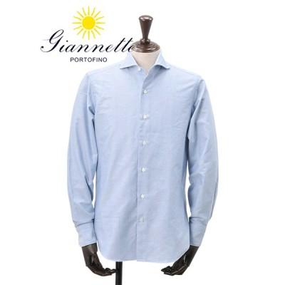 ジャンネット GIANNETTO イタリア メンズ 長袖カジュアルシャツ 無地 オックスフォード ライトブルー セミワイドカラー 国内正規品 ブランド
