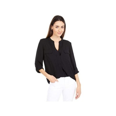Vince Camuto Long Sleeve Matte Rumple Two-Pocket Blouse レディース シャツ トップス Rich Black