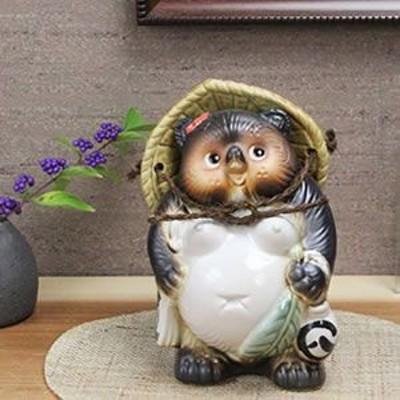 たぬき 置物 名入れ 6号ひねり狸(メス)物 狸信楽焼 おしゃれ 和風 陶器 【手作り】