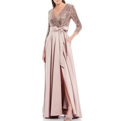 エスケープ レディース ワンピース トップス Sequin Bodice Satin Gown Mauve Blush