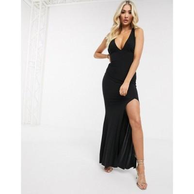 クラブエルロンドン レディース ワンピース トップス Club L halterneck slinky maxi dress in black Black