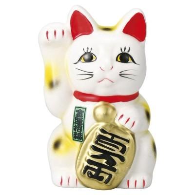 置物 招き猫 / 白4寸招き猫(右) 寸法: 12.5cm 130g