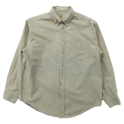 古着 リネン ボタンダウンシャツ 長袖 ライトグリーン サイズ表記:L