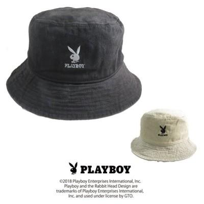 帽子 PLAYBOYバイオウォッシュバケットハット PBC-006 プレイボーイcap 女子 メンズ レディース