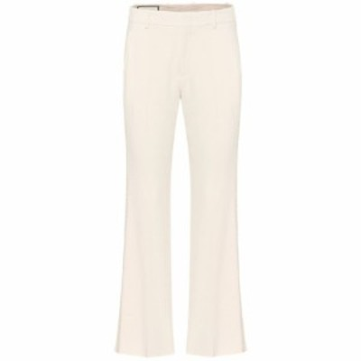 グッチ Gucci レディース ボトムス・パンツ Embroidered stretch-cady pants Ninfea White