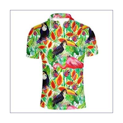 【新品】ELEQIN Fashion Adult Men's T Shirt Short Sleeve Hawaiian Leaf Print Polos for Holiday Size XXXL(並行輸入品)